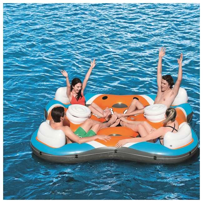 6 x 43115E-BW-U-B Bestway Rapid Rider 4-Person Floating Island Raft w/ Coolers (Used) (6 Pack) 8