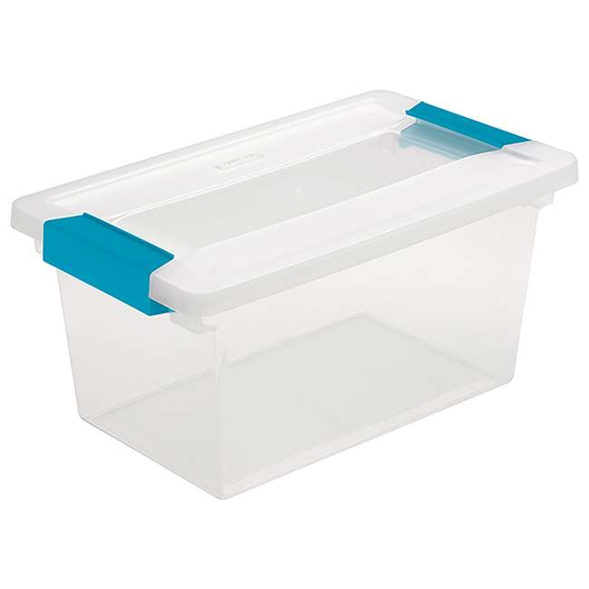 24 x 19628604-U-A Sterilite Medium Clip Box Clear Storage Tote Container (Open Box) (24 Pack)