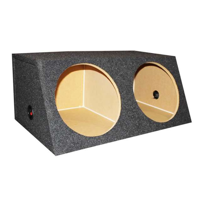 QSMBASS12 Q Power Dual 12-Inch Sealed Angled Subwoofer Box