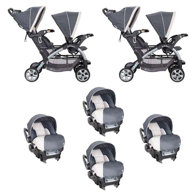 SS76C81A + 4 x CS79C81A Baby Trend 5 Point Harness Double Stroller & 35 LB Infant Car Seat w/ Car Base