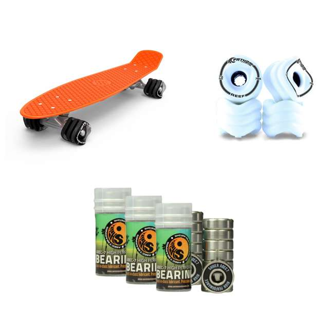 8675 + SW8165 + 5660 Fathom 22-Inch Skateboard, 70MM Reef White Wheel Set, WhiteShiver Abec-7 Bearing