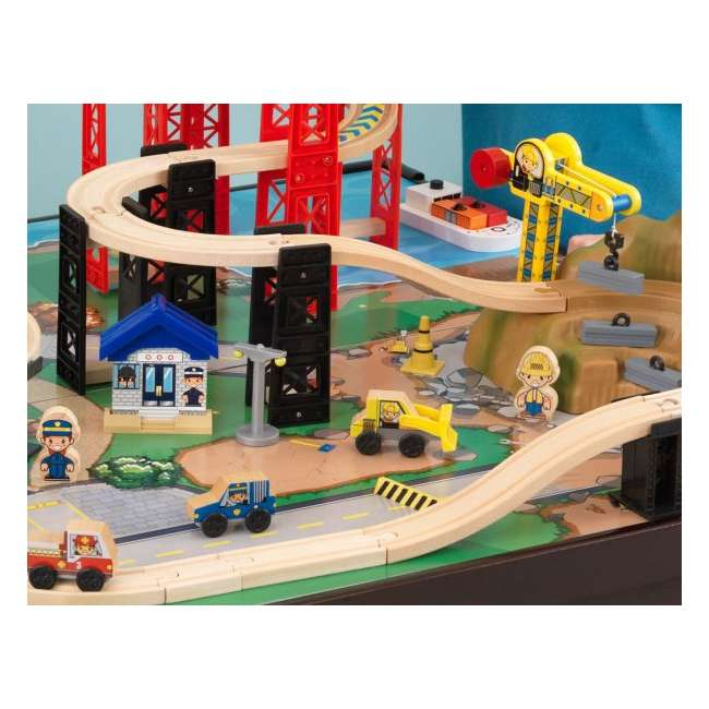 17952 KidKraft New Metro Wooden Train Table & Set with Trundle 3