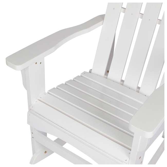 4698WT Shine Company Weather Resistant Cedar Wood Marina Porch Rocking Chair, White 5