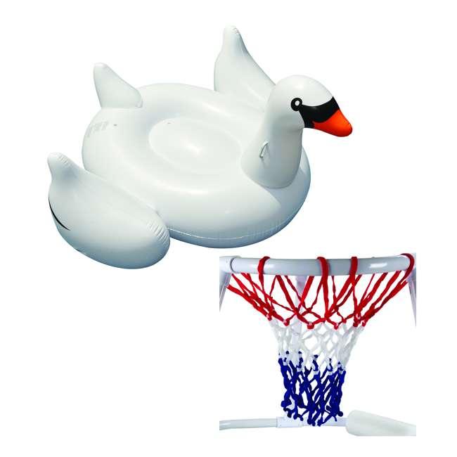 9162 + 90621 Swimline Floating Swimming Pool Basketball Game & Giant Swan Ride-On Pool Raft