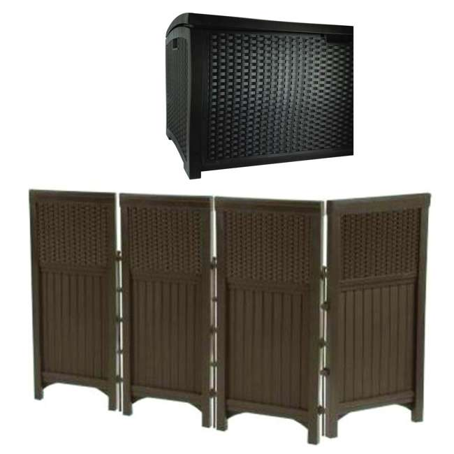 FSW4423 + DBW9200 Suncast Backyard Patio Screen Gate w/ Backyard Patio Garden Garage Wicker Resin