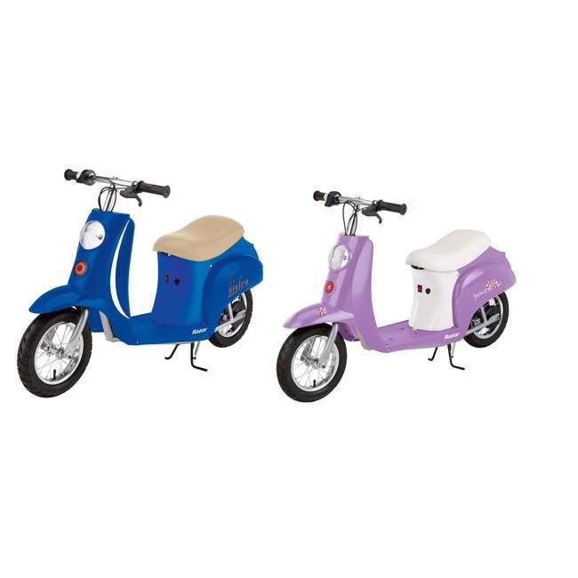 15130641 + 15130661 Razor Pocket Mod Electric Scooter, Blue & Pocket Mod Electric Scooter, Purple