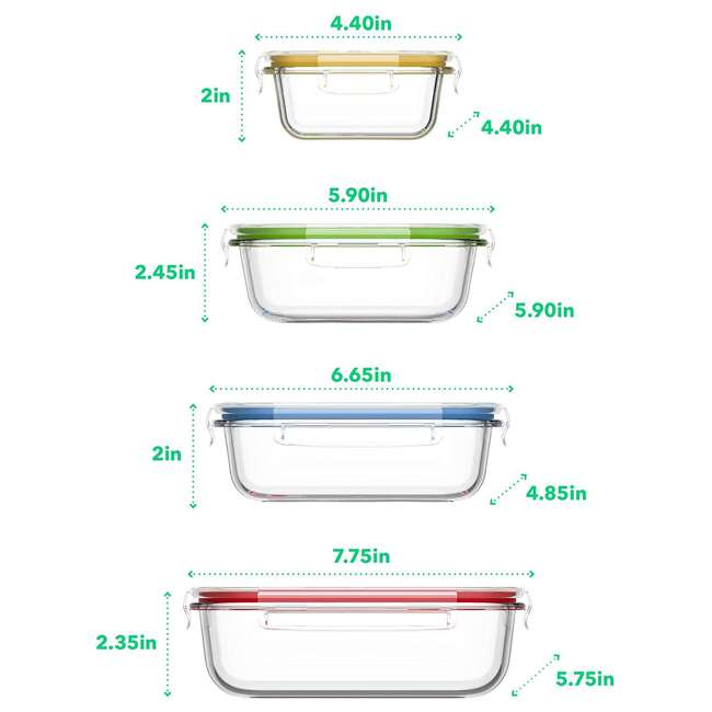 VRM020059N Vremi 18-Piece Kitchen Meal Prep Glass Food Storage Containers with Locking Lids 1