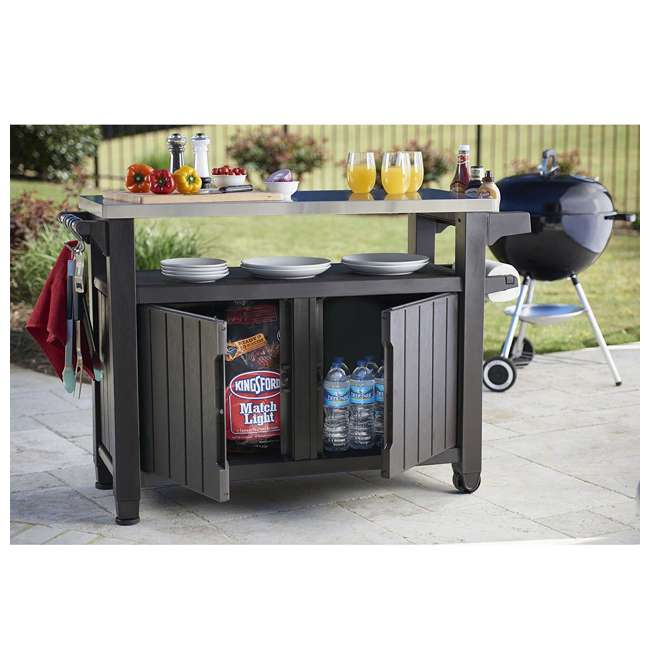 Keter Unity XL Entertainment Patio Bar Cart And Storage