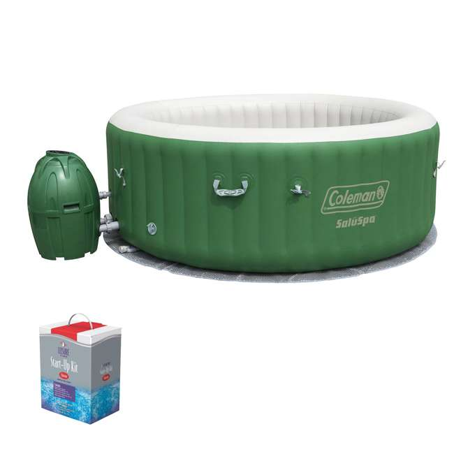 90363E-BW + 45520A Coleman SaluSpa 6-Person Inflatable Spa with Chlorine Starter Kit