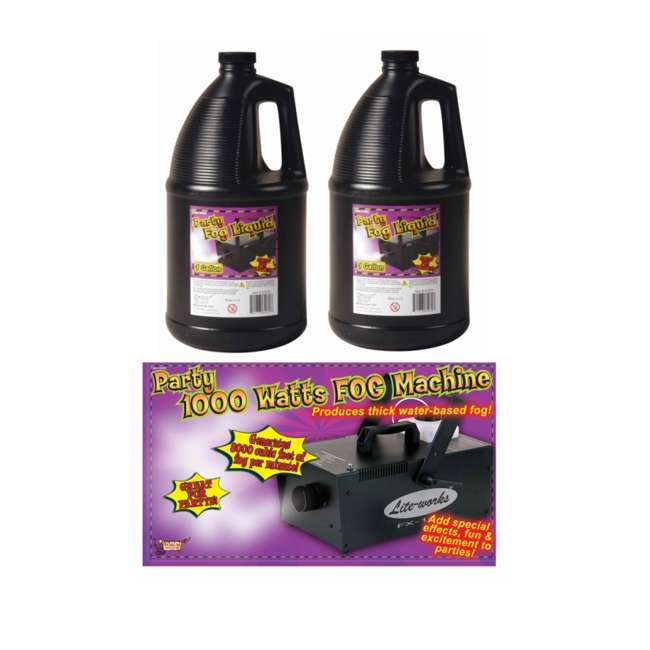 61068 + 2 x 61070 Halloween 1000 W Fog Machine & Remote with 2) Juice Fluid (Pair) 1