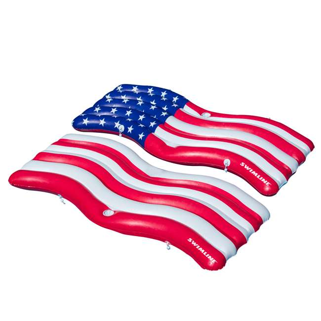 4 x SL-90346-U-A Swimline American Flag Inflatable Swimming Pool Mattress Set (Open Box) (4 Pack)
