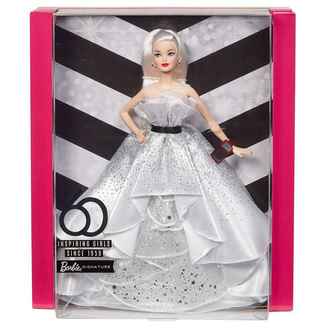 FXD88 Mattel FXD88 Barbie 60th Anniversary Doll Collector Toy in Silver Ball Gown 7