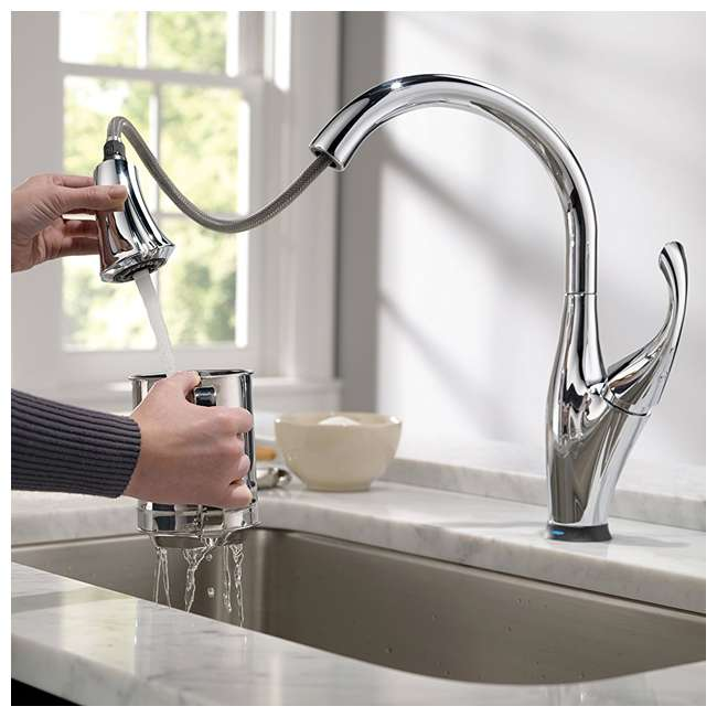 3 x 9192T-DST-U-A Delta Single Handle Touch-Activated Kitchen Faucet, Chrome (Open Box) (3 Pack) 4