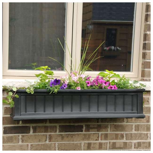 MO-4841-B Mayne Cape Cod 4 Foot Rectangle Outdoor Windowsill Flower Planter Box, Black 2