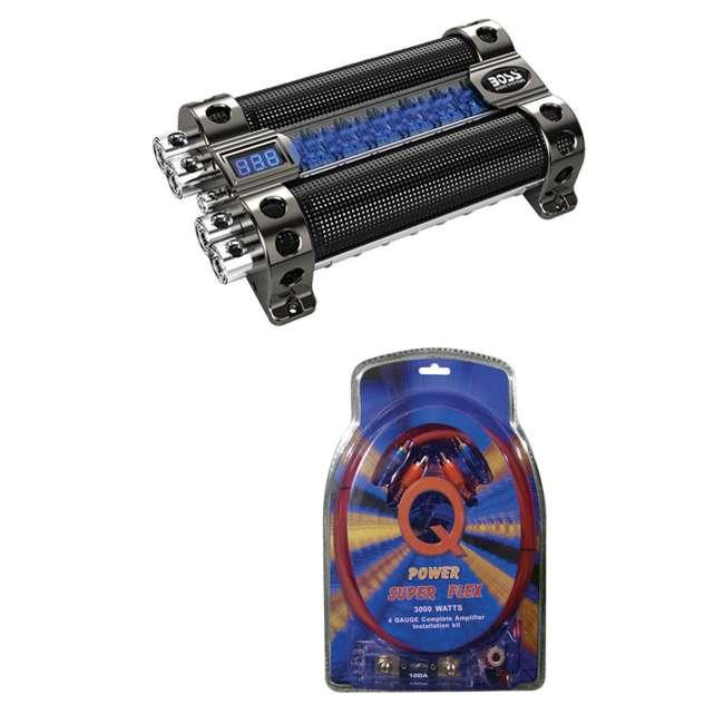 CAP18 + 4GAMPKIT-SFLEX Boss CAP18 18 Farad Digital Capacitor with 4 Gauge Amp Kit