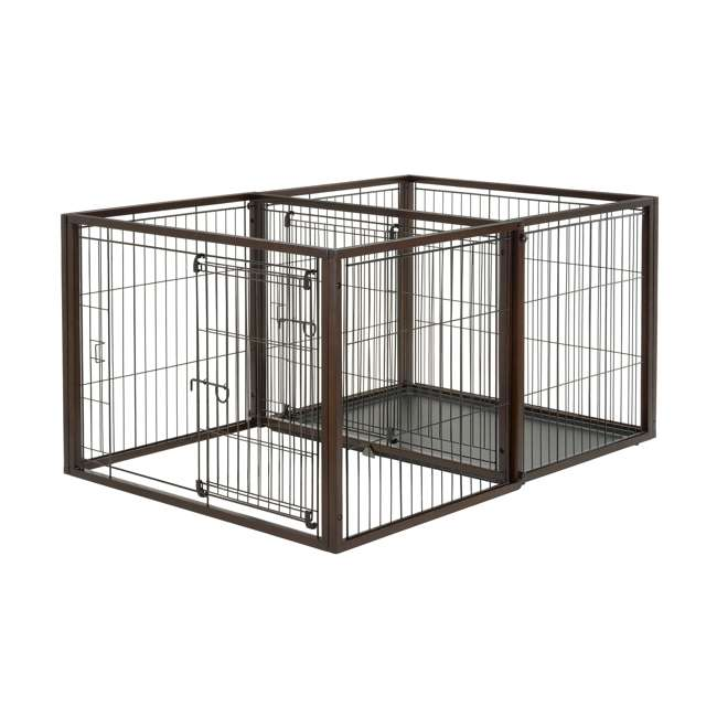 94925 Richell 94925 Flip to Play Medium Size 41 x 29.5 x 31.1 inch Wooden Pet Crate 1