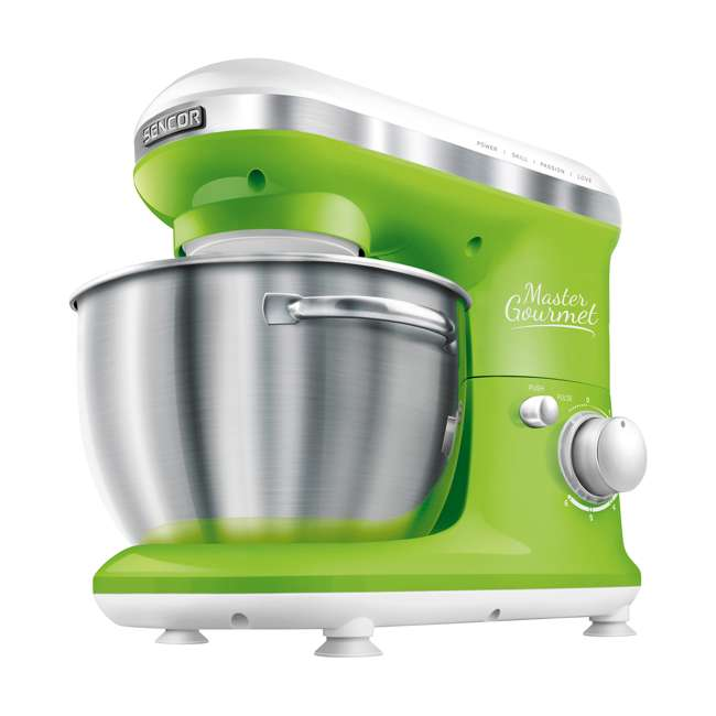 STM3621GR-NAA1 Sencor STM 3620WH 4.2 Quart 6 Speed Food Mixer with Stainless Steel Bowl, Green 1
