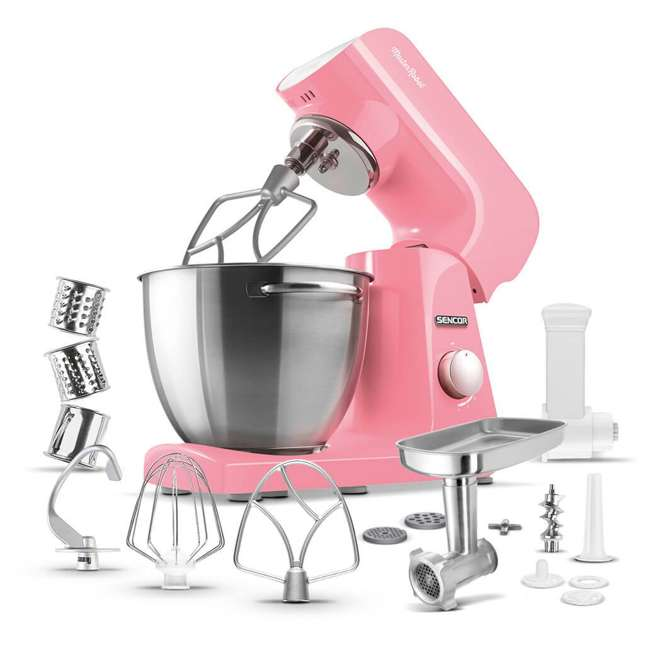 STM44RD-NAB1 Sencor STM44RD 8 Speed 4.7 Quart Stand Mixer with Beater and Hook, Pastel Red