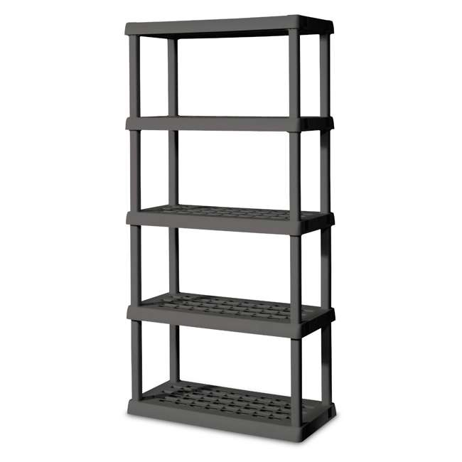 01553V01 Sterilite 75.2-Inch Heavy-Duty 5-Shelf Ventilated Shelving Unit, Gray (Open Box)