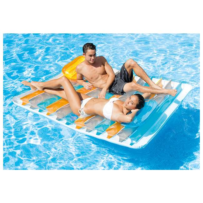 3 x 56897EP-U-A Intex Inflatable Double Pool Lounge Mat + Pillows/Cup Holders(Open Box) (3 Pack) 1