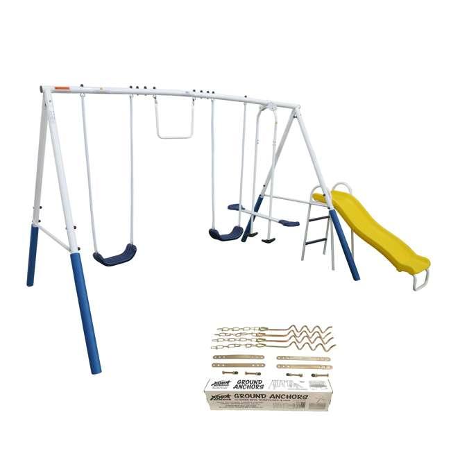 XDP-74303 + XDP-70113 XDP Blue Ridge Play Backyard Swing Set with Slide + Anchor Kit