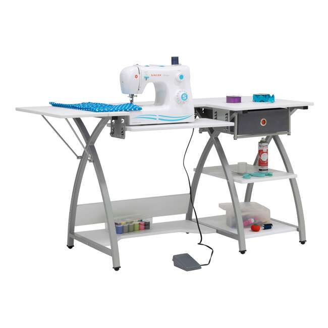 STDN-38018 Sew Ready STDN-38018 Venus Sewing Machine Craft Table Computer Desk, Silver 9