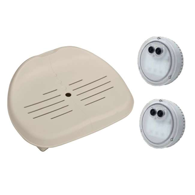 28502E + 2 x 28503E Intex Seat For Inflatable PureSpa Hot Tub + LED Light (2 Pack)