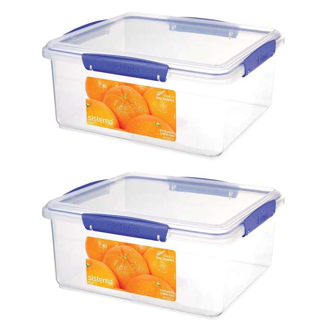 SISTEMA-1850 Sistema Klip It Collection 21 Cup Rectangle Food Storage Box Container (2 Pack)