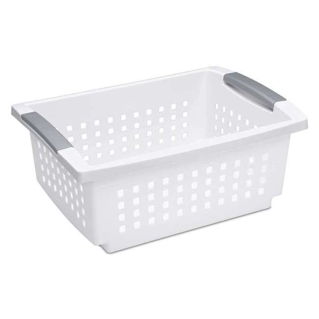 10 x 16628010 Sterilite Medium Home Stackable Storage & Organizer Basket, White (10 Pack) 1