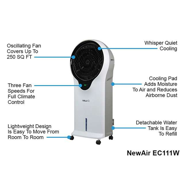 EC111W NewAir Portable Air Conditioner Evaporative Cooler Tower Fan with Remote, White 9