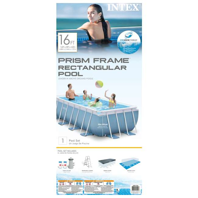 Intex 16 X 8 Feet X 42 Inches Prism Frame Pool Set 28317eh
