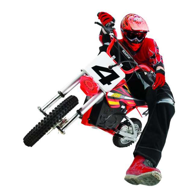 15128190 + 96785 + 97775 Razor MX500 Dirt Rocket Electric Moto Bike with Helmet, Elbow & Knee Pads 2