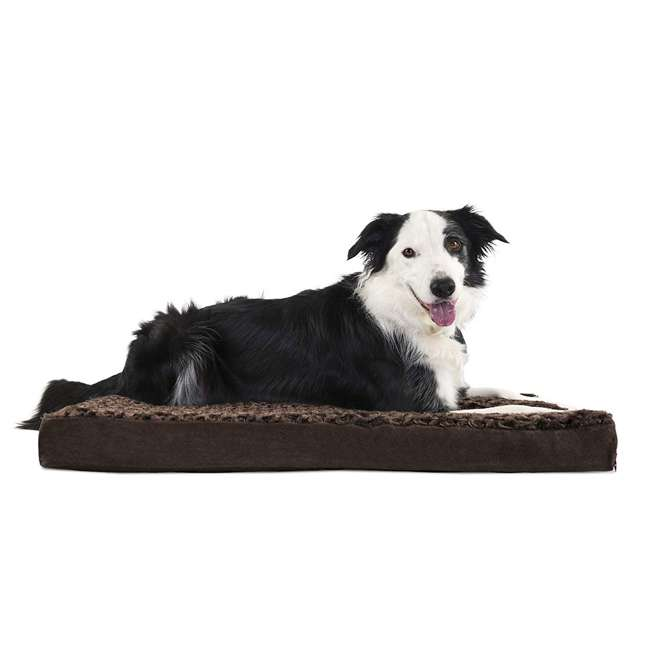 34408012-M-U-A Furhaven Plush Top Deluxe Mattress Pet Dog Bed, Chocolate, Large (Open Box) 1