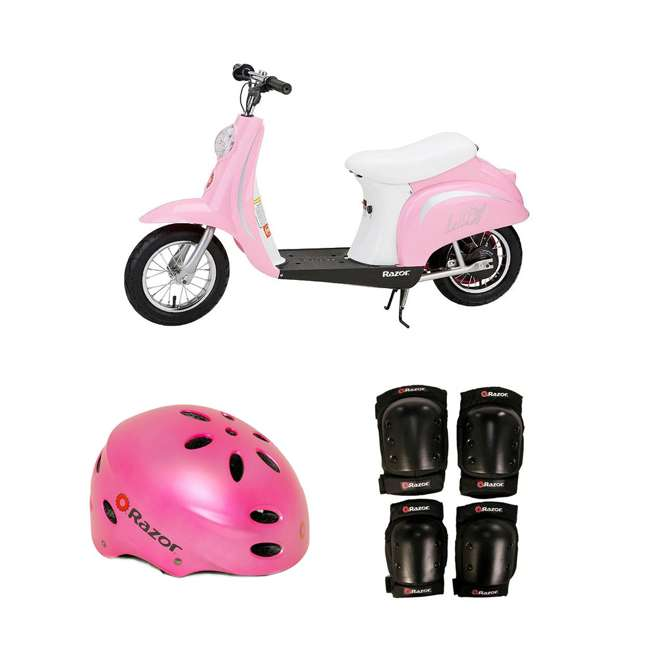 15130610 + 97783 + 96784 Razor Pocket Mod Electric Retro Scooter + Youth Sport Helmet + Elbow & Knee Pads
