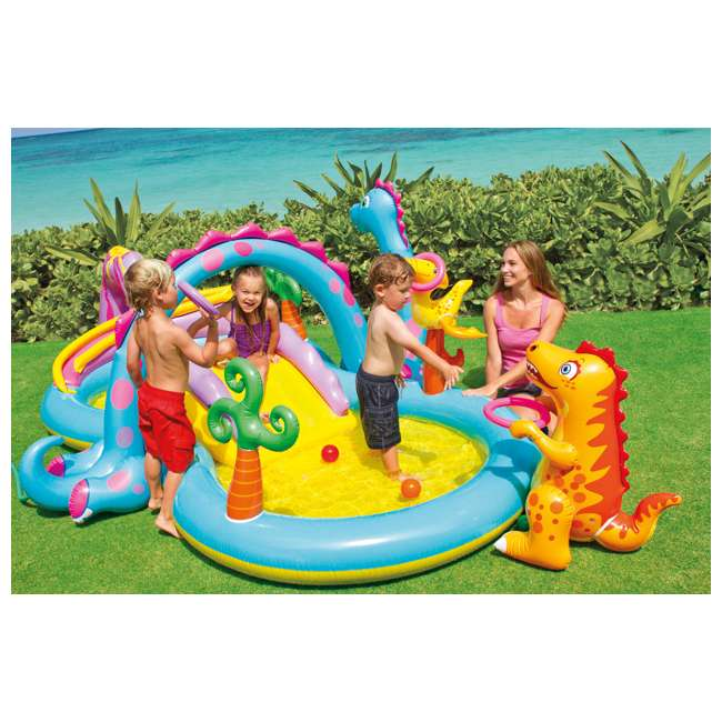 57135EP Intex Dinoland Play Center Kiddie Inflatable Slide Swimming Pool & Games (Used) 2