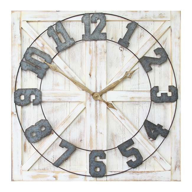 S11545 Stratton Home Decor S11545 Rustic Wood and Metal Farmhouse Mounted Wall Clock