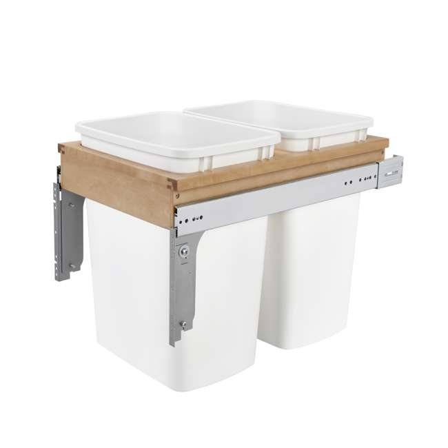 4WCTM-18DM2-25 Rev A Shelf 35 Quart Pull Out Sliding Double Waste Trash Container Bin, White