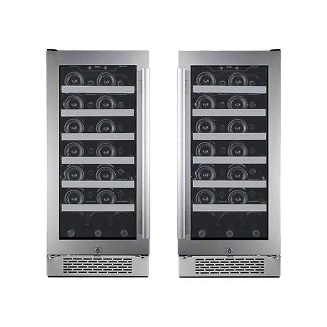 AWC151SZLH + AWC151SZRH Avallon 15 Inch Left & Right 27 Bottle Dual Zone Wine Cooler, Stainless Steel