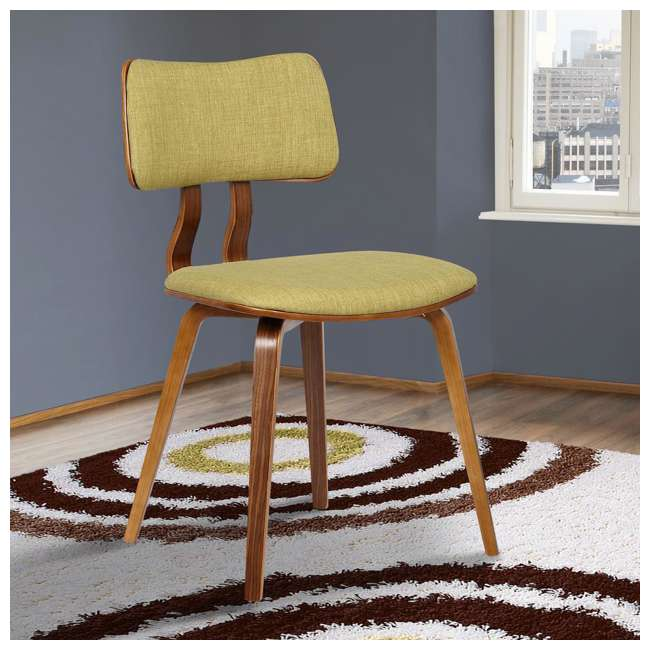 LCJASIWAGREEN Armen Living Jaguar Mid Century Dining Chair in Walnut & Green Fabric (2 Pack) 1