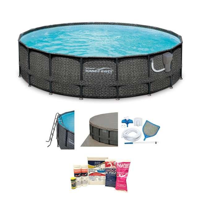 "P4A02048B167 + QLC-42003 Summer Waves Elite Wicker Print 20' x 48"" Frame Pool w/ Pump & Maintenance Kit"