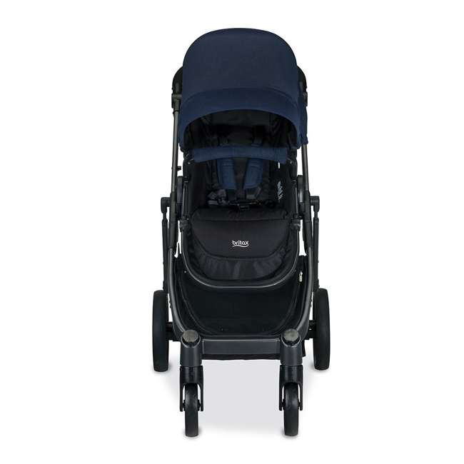 U911933 + S03634300 Britax Navy Folding Travel Canopy Baby Stroller with Black Snack Tray Accessory 2
