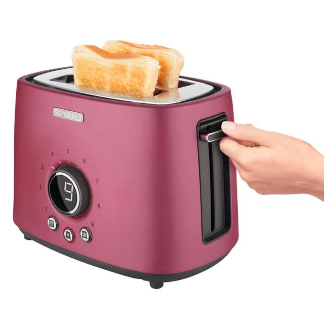 STS6054RD-NAA1 Sencor STS 6054RD Electric Wide 2 Slice High Lift Toaster w/ Rack, Metallic Red 4