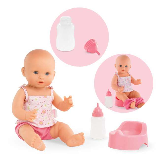 FPK23 Corolle Mon Grand Poupon Drink & Wet Potty Training Emma Doll w/ Jar and Bottle