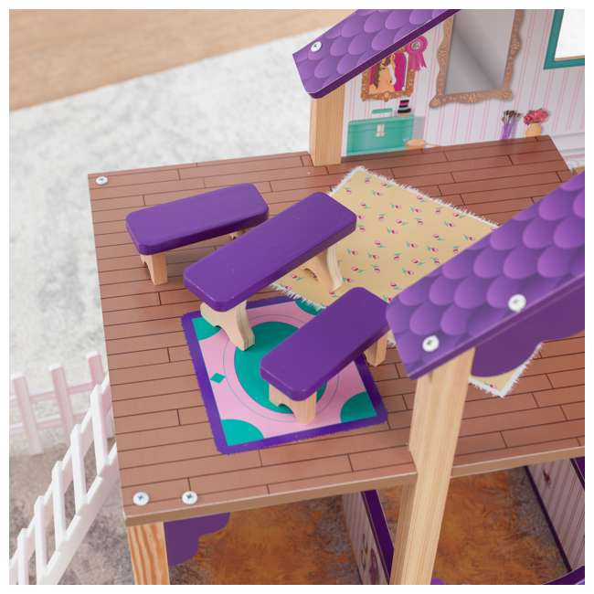 63602 KidKraft Kids Deluxe Toy Horse Stable Wooden Barn Doll House Play Set with Fence 6