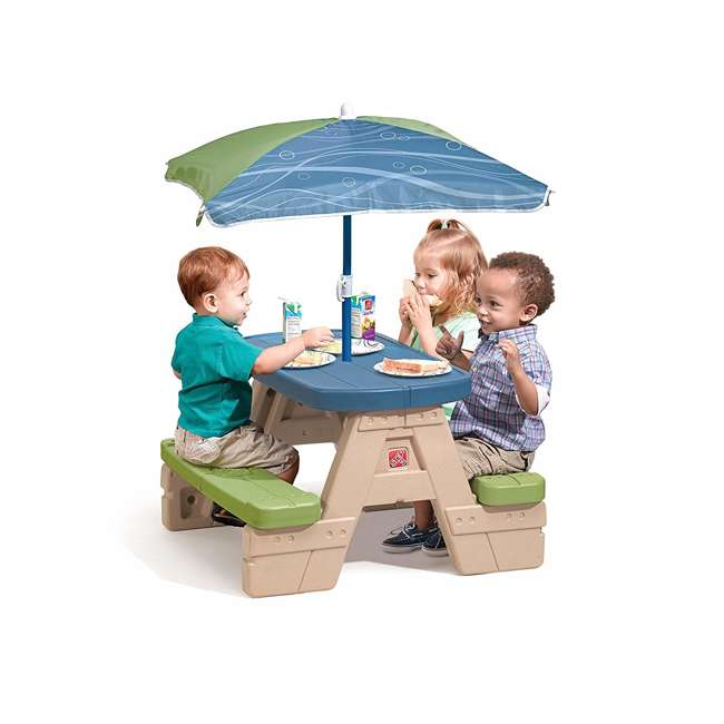 841899 Step2 Sit and Play Snap Together Toddler Preschool Picnic Table with Umbrella 2