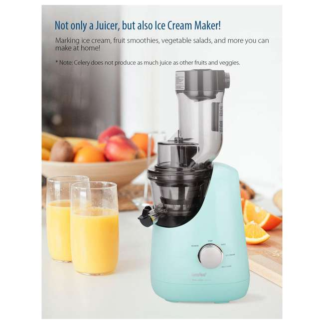 MJ-WJS2005PW Comfee' BPA Free Masticating Juicer Extractor with Ice Cream Maker, Mint Green 3