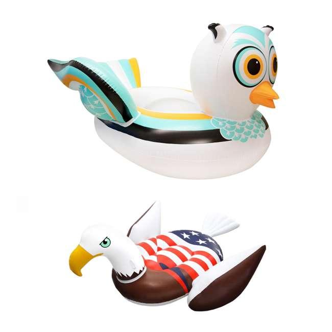 SL-90721M + 90700 Swimline Giant Inflatable Ride-On Owl Float & Giant Inflatable Bald Eagle Raft