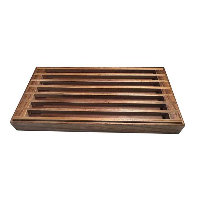 KALMAR-441 Kalmar Home 441 3 in 1 Acacia Wood Tray, Trivet, and Bread Crumb Catcher, Brown 2
