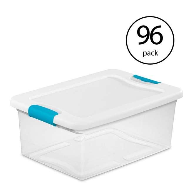 96 x 14948012 Sterilite 1494 15-Quart Clear Latching Stacking Storage Box (96 Pack)