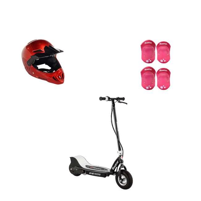 13116397 + 97880 + 96783 Razor Electric Rechargeable Scooter + Kids Bicycle Helmet + Elbow & Knee Pad Set
